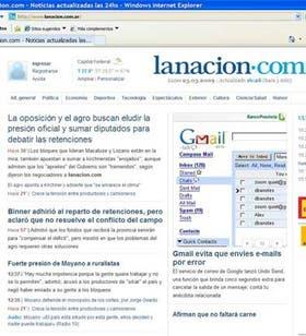Vista de la home de LA NACION en el nuevo browserde Microsoft