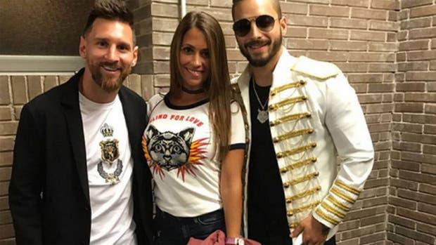 Messi, Antonela y Maluma, en Barcelona