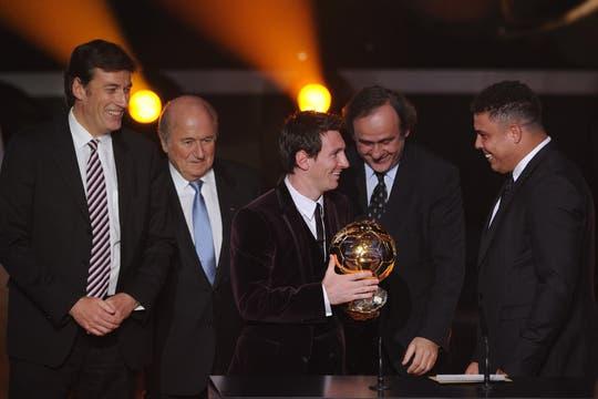 Reunión de cracks: Messi, Ronaldo y Platini. Foto: AFP