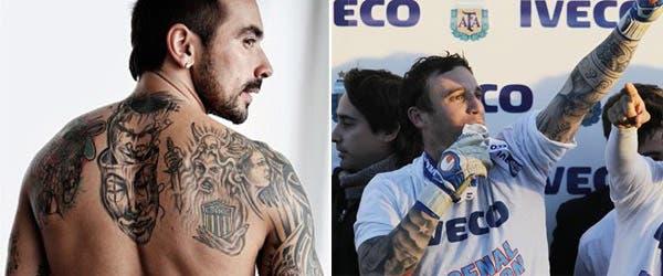 Lavezzi y Campestrini, dos de los jugadores argentinos más tatuados