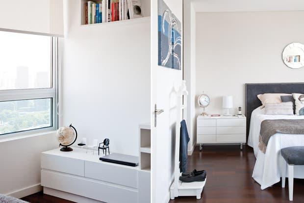 """""""Los muebles del dormitorio son los justos y necesarios. Quisimos lograr cierta asimetría a partir de las mesas de luz de distinto tamaño, pero siempre dentro de la misma línea""""."""