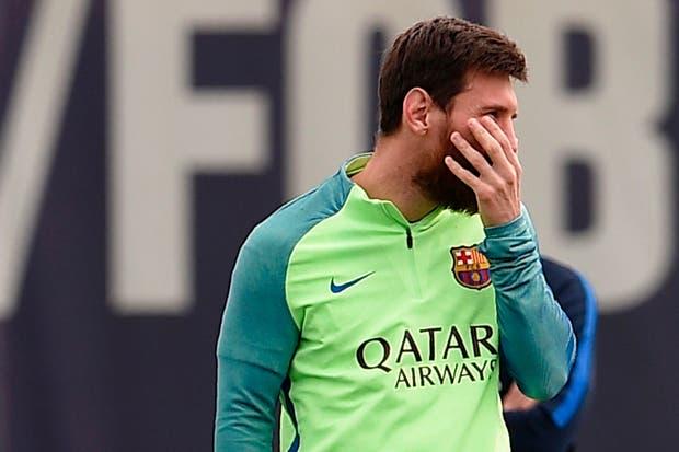 Messi, en la práctica de hoy, en Barcelona