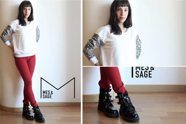 Vera Spinetta pasó a conocer la colección de MesSage con unos chupines rojos, botitas negras y un buzo estampado muy canchero. Foto: MesSage
