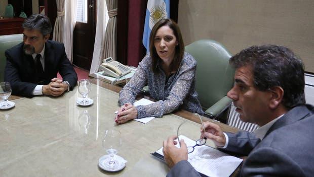 Vidal, acompañada por Ritondo y por el doctor Carlos Damín (izquierda), que estará a cargo de los estudios