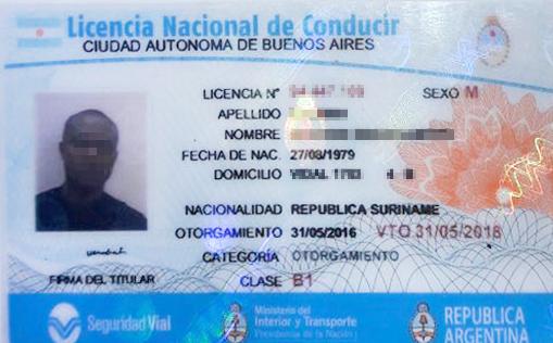 El documento de identidad del surinamense detenido