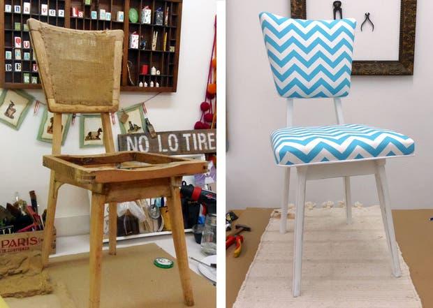 Recicl los asientos de tus sillas ver nica guti rrez de le n revista ohlal - Como tapizar una silla con respaldo ...