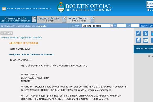 Nilda Garré designó como jefe de Gabinete de Asesores del Ministerio de Seguridad a Lorenzo Manuel Donohoe, en reemplazo de su hermano Raúl
