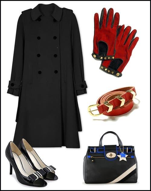 Tapado (AynotDead, $2798). Cartera (Jackie Smith, consultar precio). Zapatos (Jackie Smith, $1490). Cinturón. (De la Ostia,$ 360).Guantes (De la Ostia, $ 600).