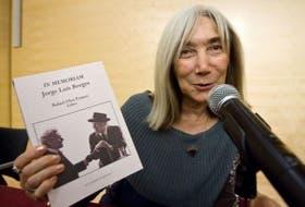 María Kodama durante la presentación del libro sobre Borges