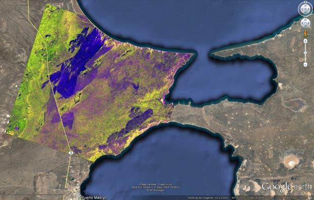 Imagen satelital del área afectada por el incendio del 27 de diciembre de 2016 en Puerto Lobos, región próxima a Puerto Madryn