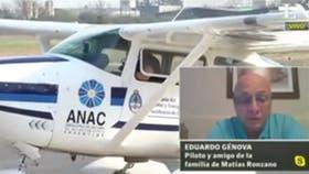 Eduardo Génova, amigo de la familia del piloto del avión accidentado, criticó el operativo de búsqueda