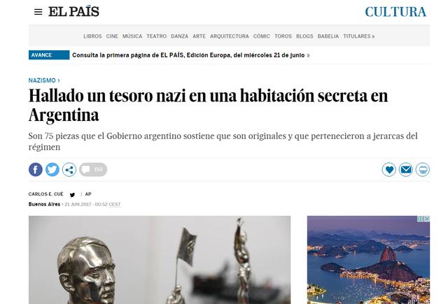 El País replicó los hallazgos de objetos nazis en la Argentina