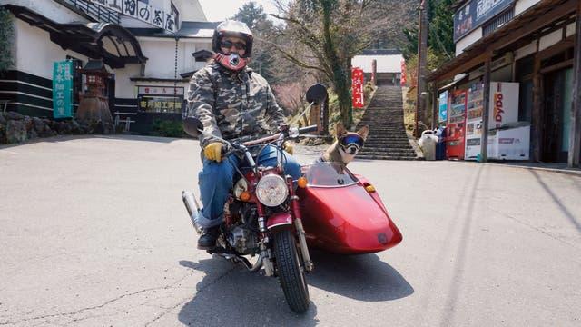 Un motoquero con su perro raza akita en Kakegawa
