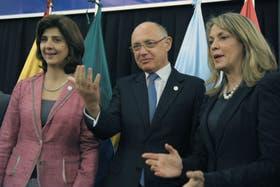 El canciller argentino, Héctor Timmerman durante la cumbre de la Unasur en Paraguay