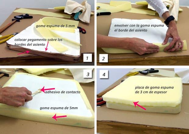 imagen cort una tira de goma espuma de mm de espesor del permetro del asiento y de un ancho que cubra el borde del bastidor