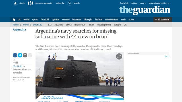 La Armada intenta geolocalizar las llamadas del ARA San Juan
