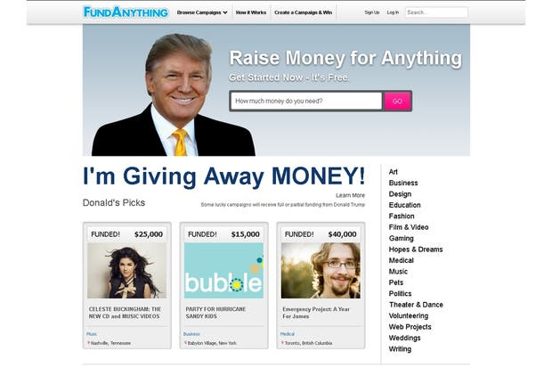 El sitio Fundanything.com