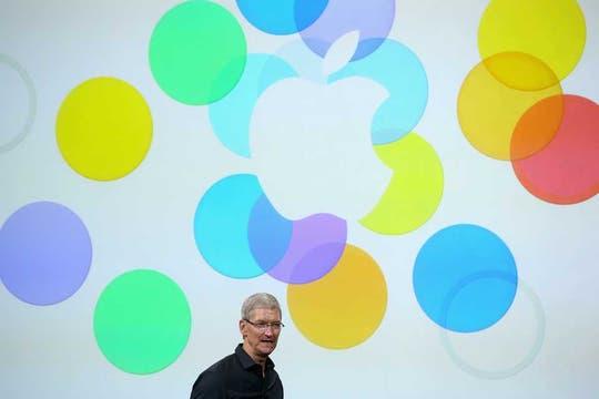 Tim Cook, CEO de Apple, durante la presentación de la compañía en Cupertino, California. Foto: AFP