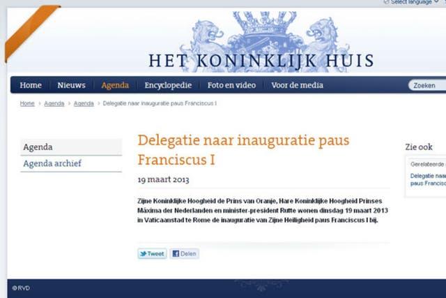 La página oficial de Holanda