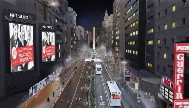 La Avenida Corrientes, de noche