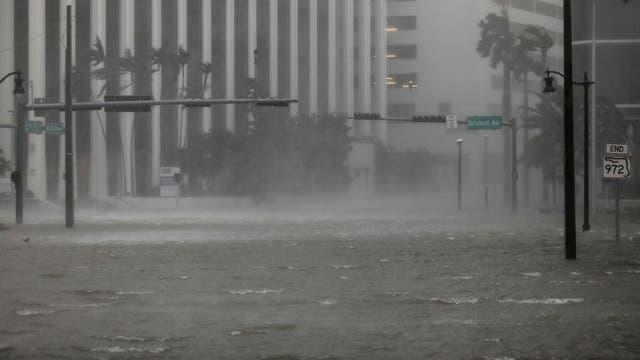 La zona de Brickell, el centro financiero de Miami azotada por los fuertes vientos