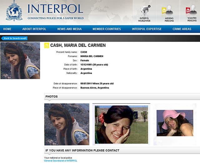 La búsqueda de Maria Cash por Interpol