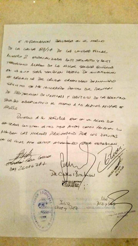 El documento donde Pérez Corradi le pide ayuda a la Justicia para proteger a su familia