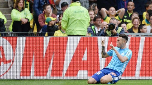 Lucas Ocampos festeja su gol ante Nantes