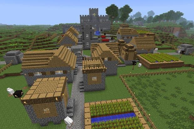 Un poblado hecho en Minecraft