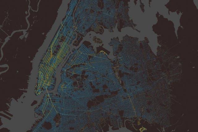 Imagen congelada de la recogida y bajada de los 150 millones de carreras que hacen los taxis de Nueva York cada año.