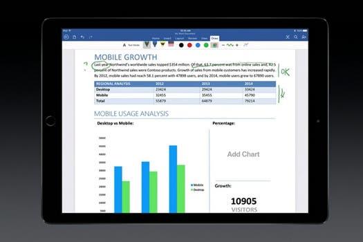 Microsoft estuvo presente en la presentación con las herramientas productivas Office para el iPad Pro.