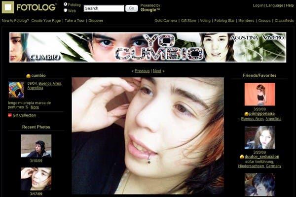 El perfil de Agustina Vivero, alias Cumbio, en el sitio Fotolog