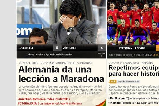 La derrota argentina, en los medios extranjeros. Foto: As.com (España)