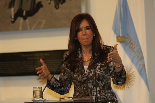 Cristina Kirchner  anunció en el salón de la Mujer de Casa de Gobierno, aumentos en las jubilaciones y en las asignaciones familiares. Foto: LA NACION / Alfredo Sánchez