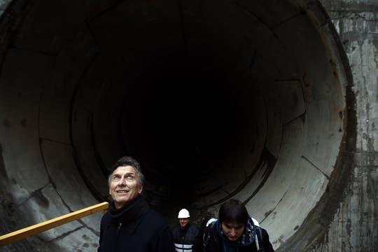Macri recorrió el canal aliviador del Maldonado , la construcción ya terminó y pronto será inaugurado. Foto: LA NACION / Emiliano Lasalvia