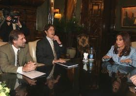 Carlos Fernández y Martín Lousteau, en una reunión con la Presidenta, el 1° de este mes
