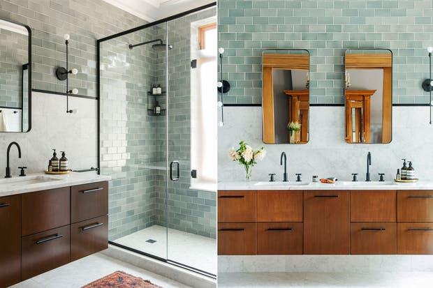 Pueden unificar los distintos elementos a través de un material: deténganse en el metal negro que se repite en este baño: en la ducha, la lámpara, el espejo, la grifería y los tiradores del gran mueble de madera.  /Elizabethroberts.com