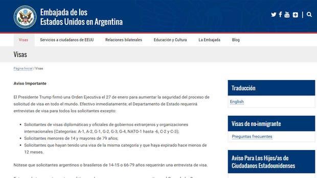 Las nuevas disposiciones, en la web de la embajada estadounidense en la Argentina
