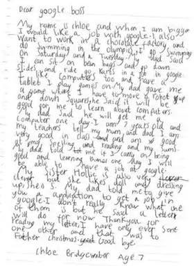 Chloe es británica, tiene siete años y su sueño es trabajar en Google