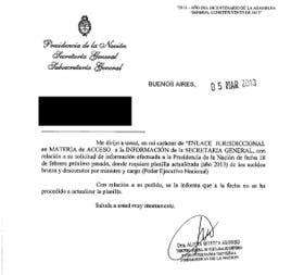 La carta del Gobierno en la que niega los datos a LA NACION