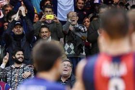 Tinelli estuvo viendo el partido en Obras