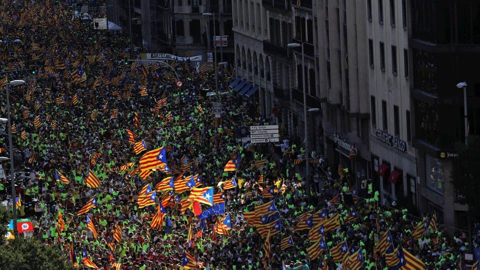 La impactante manifestación de la Diada, el Día Nacional de Cataluña. Foto: Reuters