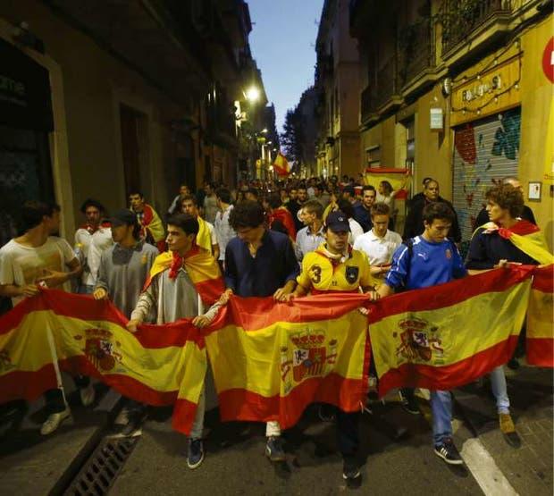 Una marcha de opositores a la independencia, ayer, en Barcelona