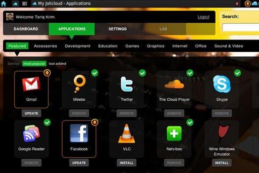 Jolicloud, otro sistema operativo diseñado para netbooks creado por Tariq Krim, fundador de Netvibes. Foto: Jolicloud