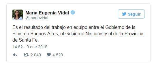 El tuit de María Eugenia Vidal