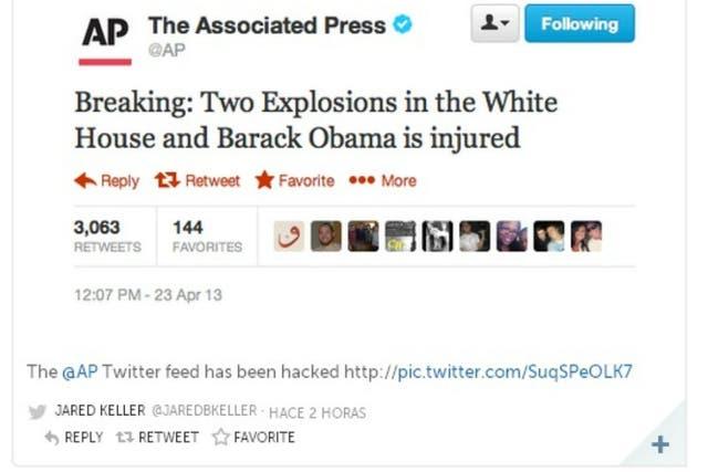 Captura del tweet falso en la cuenta de AP