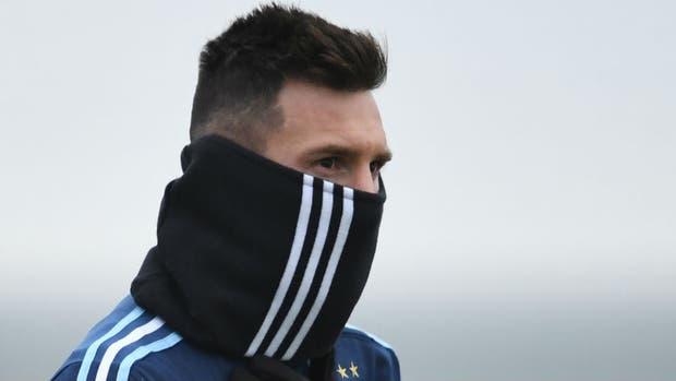 Messi, en el entrenamiento de esta mañana en Moscú