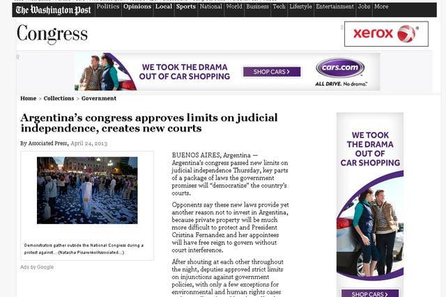 Nota del The Washington Post tratando el avance sobre la Justicia por parte del Gobierno