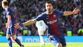 El festejo de Luis Suárez en el Bernabéu