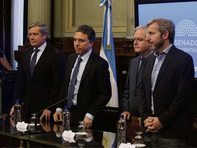 Monzó, Dujovne, Pinedo y Frigerio, en la presentación de ayer